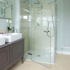 Mint green bathroom with walk-in shower | Bathroom decorating | Ideal Home | Housetohome.co.uk