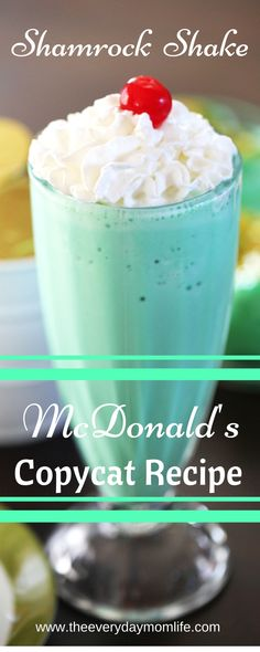 Copycat McDonald's Shamrock Shake - for St. Patrick's Day, parties or just because this ice cream shake has all the minty goodness that you've been craving.