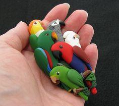 Custom Parrot Pin with 6 Birds | Flickr - Photo Sharing!