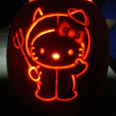 My 2011 Halloween hello kitty pumpkin It's a yearly tradition of mine to make a hello kitty pumpkin, so check out my past work: Also, the pumpkin was inspired by a fellow deviantartist here at this. Halloween Date, Halloween Party Decor, Halloween Crafts, Halloween Tricks, Halloween Icons, Halloween Kids, Holiday Crafts, Holiday Fun, Halloween Costumes