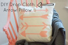 DIY Stenciled Arrow Pillow made from a $5 drop cloth! EASY