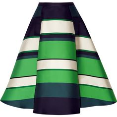 Lanvin Striped duchesse-satin midi skirt ($2,010) ❤ liked on Polyvore featuring skirts, blue, dresses, striped a line skirt, blue striped skirt, knee length a line skirt, striped midi skirt and flare skirt