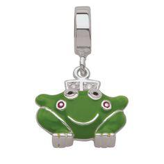 Persona Sterling Silver Green Enamel Frog Dangle Bead