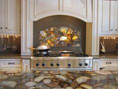 Stone: Translucent Agate - 30 Splashy Kitchen Backsplashes on HGTV ~ Definitely different! I like.