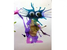 """Weird animal / straw painting - I was impressed with how creative the 5 & 6 year olds got with this project.  They did a great job of giving their creatures """"personality""""."""