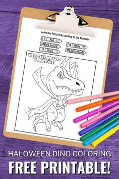 The spooky season is upon us and if you're looking for a fun quiet-time activity for the kiddos, these free printable dinosaur Halloween Color By Number coloring pages might just be the ticket! If your children love dinosaurs, they are just going to love the cute dinos dressed up as witches, mummies, and vampires to color in!