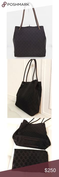 Gucci Brown Gg Canvas Leather Tote Shoulder Bag Made in Italy. Item #101341 203419. Gucci Bags Totes