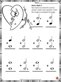 Music Math with a Valentine's Day Theme!  24 worksheets aimed at reinforcing students' understanding and knowledge of note and rest values.        #musiceducation     #musedchat