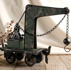 """13"""" Metal Table Top Crane with Pulley & Wrecking Ball"""