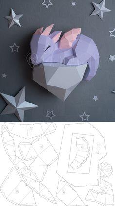 Paper Crafts Origami, Origami Art, Diy Paper, Paper Craft Templates, Origami Ideas, Origami Templates, Origami Dragon, Paper Gifts, Diy Crafts With Paper