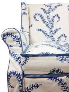 not this pattern but I like a similar idea: blue/white printed upholstered chair!