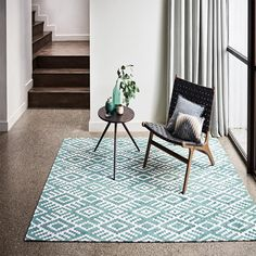 Nahli kingfisher rug features a striking geometric, reminiscent of a traditional tribal design woven with exquisitely soft chenille. Buy Romo Flat weave rugs from our online Rug Shop in the UK. Romo Fabrics, Carpets Online, Teal Rug, Carpet Trends, Cheap Carpet Runners, Custom Rugs, Diy Carpet, Woven Rug