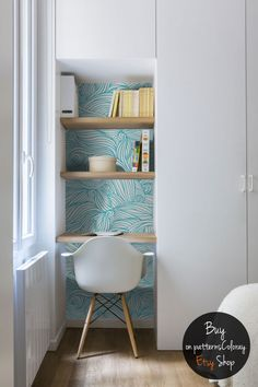 Wavy lines pattern, irregular shapes, vintage wallpaper, h … – Wall Pictures Home Office Design, Home Office Decor, House Design, Home Decor, Cozy Home Office, Office Ideas, Vintage Wallpaper, Trendy Wallpaper, Wall Wallpaper