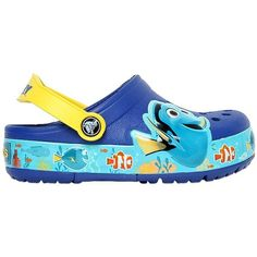 Crocs Kids-girls Dory Rubber Crocs With Lights (150 BRL) ❤ liked on Polyvore featuring blue
