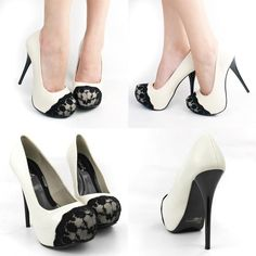 White platform stiletto heels with black floral lace