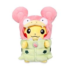 Official Mega Slowbro Costume Pikachu Pokémon Plush. Features buttoned green shell and pink hood with rounded ears. Pokémon Center Original design.