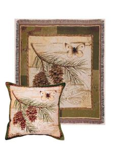 Pinecone Branch Tapestry Pillow and Throw Set - - Made in the USA - Makes a great #gift   Buy at Snugglebug Pillows and Throws www.snugglebugpillowsandthrows.com