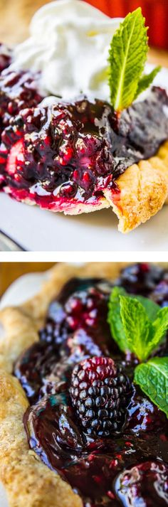 Fresh Blackberry Glacé Pie from The Food Charlatan // This pie is made with fresh berries and cream cheese, and is SO EASY!