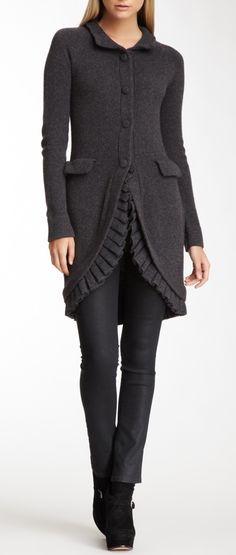 Ruffled knit coat