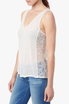 Lace Panel Tank in Eggshell #7FAM