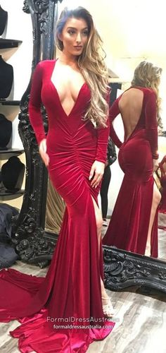 Deep V-neck Sexy Prom Dresses, Long Sleeves Mermaid Prom Dresses Modest Formal Dresses, Open Back Prom Dresses, Formal Dresses For Teens, Backless Prom Dresses, Prom Dresses With Sleeves, Cheap Prom Dresses, Formal Evening Dresses, Homecoming Dresses, Party Dresses