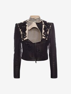 ALEXANDER MCQUEEN Embroidered Leather Jacket Jacket D f