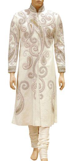 Regal Pink & Golden Sherwani with payjama - Sherwani / Achkans