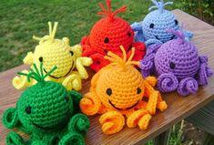 Rainbow Amigurumi Octopi  Stuffed Crocheted Toy by DaffodilCorner, $12.00