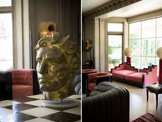 Adding to my dream home list: a giant head, and a settee that looks like art deco buildings. From Kelly Wearstler's 11,000 square foot Beverly Hills Georgian mansion.