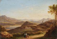 Oswald Achenbach - Lago di Agnano bei Neapel mit Blick auf den Vesuv