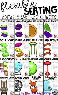 This resource includes everything you need to organize and implement flexible seating with your students! There are 21 large anchor charts/posters to use for going over basic rules for each flexible seating option. The anchor charts are clear, neat and brief, covering basic expectations while using each flexible seating option.