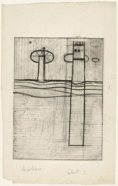 Louise Bourgeois. Le Phare (The Lighthouse), state I. (1946-1947)  Engraving with pencil and ink additions