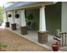 Decorative column wraps are a simple and effective way to enhance an exterior home design. See pictures of them used on porches, patios and more. Front Porch Pillars, Front Porch Posts, Porch With Columns, House Columns, Front Stairs, Deck Posts, Front Entry, Stone Porches, Brick Patios