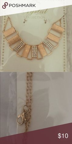 Gold Necklace and earring set New in packaging! Lovely sparkle upscale costume jewelry. Jewelry Necklaces
