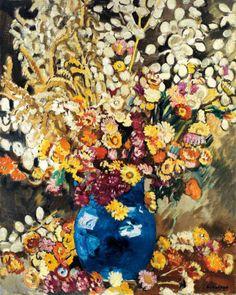 Louis valtat / Louis valtat (dieppe 1869 - paris 1952) blue vase of flowers oil on canvas 81 x 65 cm (32 x 25 in