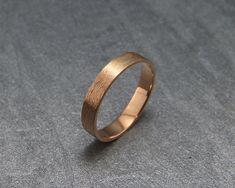 Men's wedding ring Solid white gold Handmade 14k solid