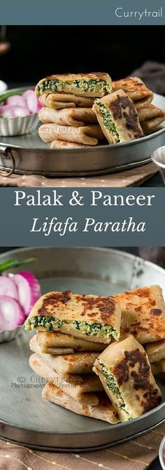 Whole Wheat Spinach Paneer Lifafa Paratha I want to try and veganize this. Paratha Recipes, Paneer Recipes, Veg Recipes, Indian Food Recipes, Vegetarian Recipes, Cooking Recipes, Healthy Recipes, Cooking Tips, Recipies
