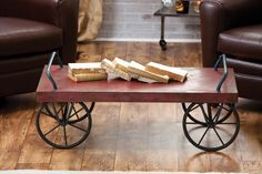 This Antique Red Metal Cart is definitely a conversation piece.
