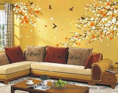 cherry blossom wall decal with flying birds-cherry by NatureStyle