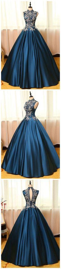 High Neck Sleeveless Appliques Long Prom Dresses, Floor Length Blue Prom Dresses,331