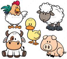 Vector Illustration of Cartoon Animals farm set , . - Vector Illustration of Cartoon Animals farm set , Vec -