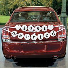 Just Married Car Pennant Banner - Oriental Trading Just Married Banner, Just Married Car, Married Life, Bridal Car, Cars Birthday Parties, Pennant Banners, Wedding Designs, Wedding Ideas, Wedding Cars