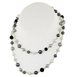 """Honora Sterling Silver 7-10mm Black, White and Gray Round Ringed """"Pop · LN5673BWG · Ben Garelick Jewelers"""