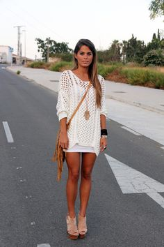 chunky white knit sweater over white dress - bohemian looking