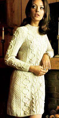 St Kitt Dress - free pattern for this stylish vintage Aran sweater dress.