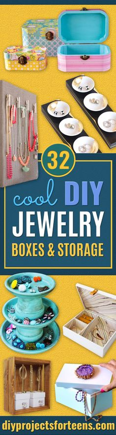 51 Ideas For Jewelry Storage Diy Box Jewelery Diy Mod Podge, Diy Ombre, Cool Diy, Easy Diy, Diy Vintage, Diy Jewelry Holder, Bracelet Holders, Earring Holders, Teen Decor