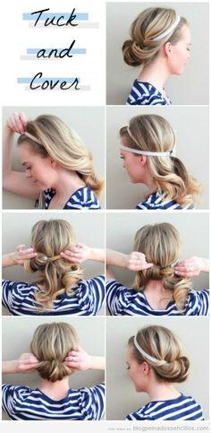 Peinado sencillo pelo largo, recogido con diadema, tutorial paso a paso