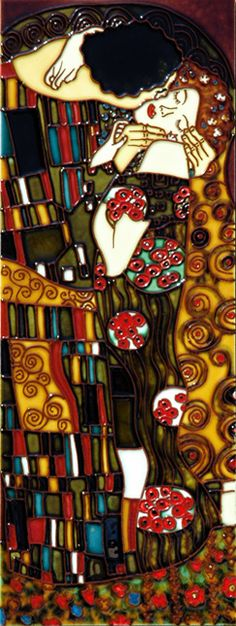 Klimt Kiss Swirls | 6x16 Hand Painted Ceramic Art Tile - The Kiss - Inspired by Klimt