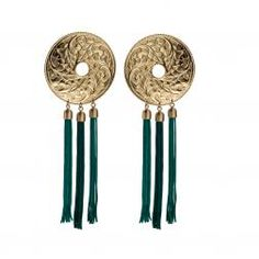 Handmade ornaments in brass and cotton-silk threads in deep green color. Earrings from NEPAL collection by Anna Orska,