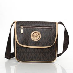 Michael Kors Outlet Logo Monogram Zip Large Coffee Crossbody Bags| Michael Kors Outlet Online